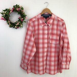 Tommy Hilfiger Pink Plaid 100% Cotton Shirt